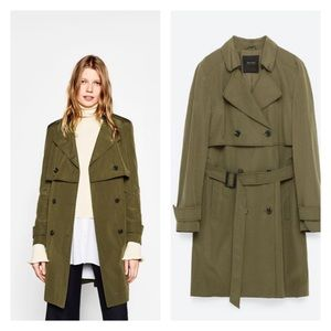 Zara DOUBLE-BREASTED BUTTONED TRENCH COAT